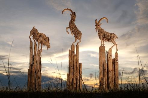 """Jameso Dorano-Webbo skulptūrą """"Trys ožkos"""" įkvėpė Ožkos metai pagal kinų horoskopą, nuotr. iš asm. albumo"""